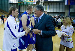 Aljaz Janza and Andrej Osterc at third finals basketball match of Slovenian Men UPC League between KK Union Olimpija and KK Helios Domzale, on June 2, 2009, in Arena Tivoli, Ljubljana, Slovenia. Union Olimpija won 69:58 and became Slovenian National Champion for the season 2008/2009. (Photo by Vid Ponikvar / Sportida)