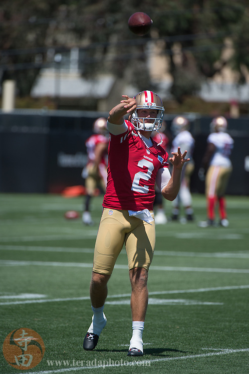 July 24, 2014; Santa Clara, CA, USA; San Francisco 49ers quarterback Blaine Gabbert (2) throws the football during training camp at the SAP Performance Facility.