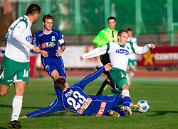 Marko Pecnik of Drava vs Davor Skerjanc of Olimpija  at 18th Round of PrvaLiga football match between NK Olimpija and NK Labod Drava, on November 21, 2009, in ZAK, Ljubljana, Slovenia. Olimpija defeated Drava 3:0. (Photo by Vid Ponikvar / Sportida)