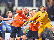 Luton Town captain Scott Cuthbert scores Luton Town's second goal of the first half during the EFL Sky Bet League 2 play off second leg match between Luton Town and Blackpool at Kenilworth Road, Luton, England on 18 May 2017. Photo by Ian  Muir.