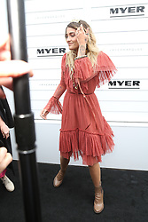 Paris Jackson, daughter of Michael Jackson was a guest of Myer in the Birdcage at Melbourne Cup Day 2017. A photographer dropped his lense hood and she tried to help him pick it up. She was very cold due to the bad weather in Melbourne. 07 Nov 2017 Pictured: Paris Jackson. Photo credit: Richard Milnes / MEGA TheMegaAgency.com +1 888 505 6342