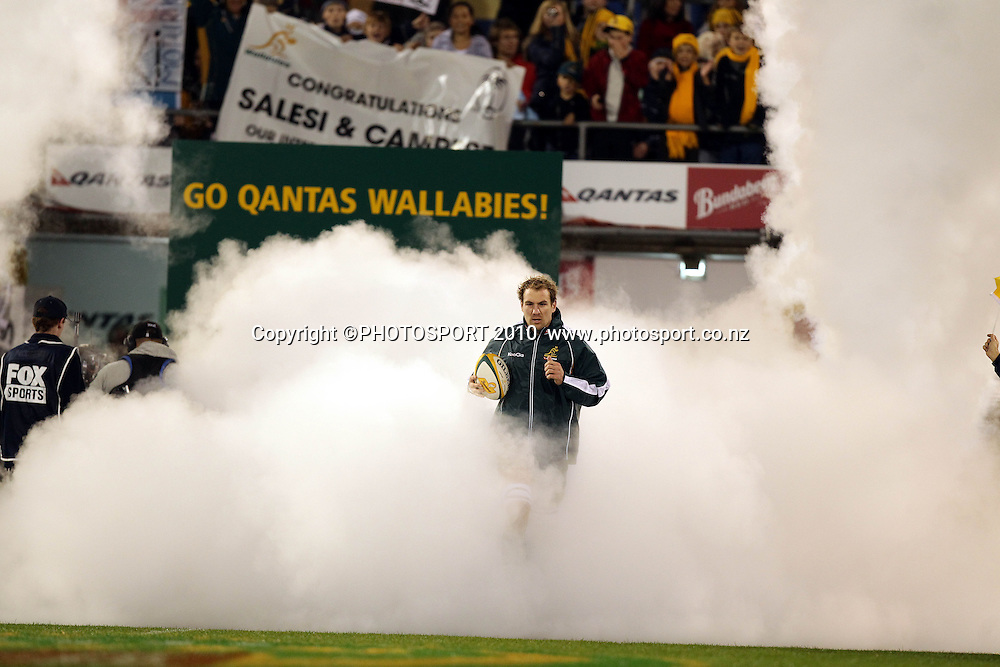 Rocky Elsom leads out the Wallabies<br /> International Test rugby union match, Australia v Fiji, Canberra, Australia. Saturday 5 June 2010. Photo: Paul Seiser/PHOTOSPORT