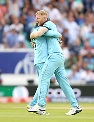 England's Ben Stokes (centre) celebrates the final wicket of South Africa's Imran Tahir with team-mate Eoin Morgan during the ICC Cricket World Cup group stage match at The Oval, London.