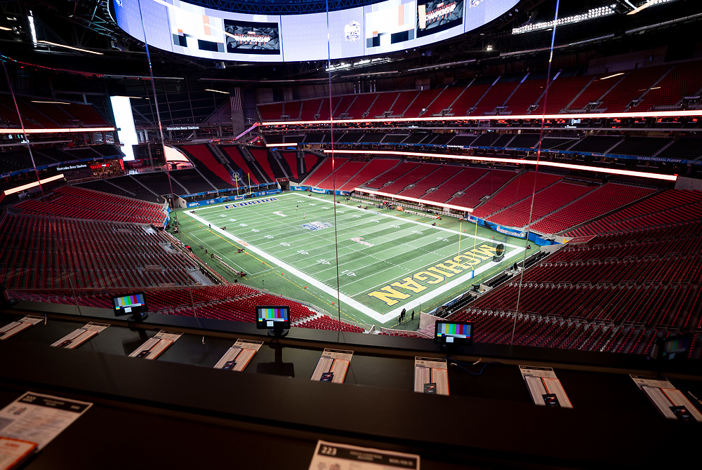 A  general view of the field prior to the Chick-fil-A Bowl Game at  the Mercedes-Benz Stadium, Saturday, December 29, 2018, in Atlanta. ( Paul Abell via Abell Images for Chick-fil-A Kickoff)