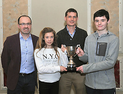 Saoirse O'Brien and Adam Sheridan were jointly awarded Westport AC Athlete of the Year at the club's awards from Pat Staunton Club Chairman and Paul McNamara Regional Athletics Officer Athletics Ireland.<br /> Pic Conor McKeown