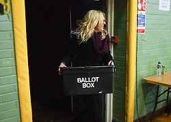 © Licensed to London News Pictures. 28/02/2013. Eastleigh, UK Ballot boxes begin to arrive at the count centre at  Fleming Park Leisure Centre in Eastleigh this evening. The voters of Eastleigh vote to choose a new MP in a by-election prompted by the resignation of former Lib Dem cabinet minister Chris Huhne. Polling will continued 22:00 GMT 28/02/13, with votes counted overnight on Thursday. There are 14 candidates in total on the ballot papers.. Photo credit : Stephen Simpson/LNP