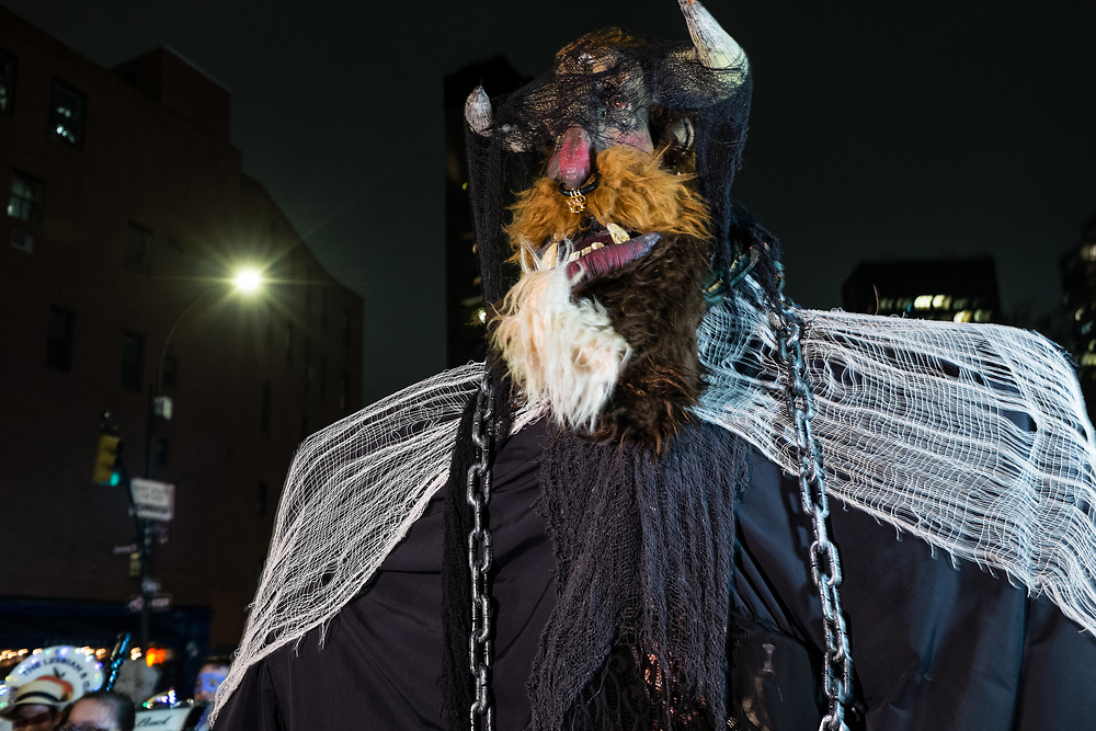New York, NY - 31 October 2019. the annual Greenwich Village Halloween Parade along Manhattan's 6th Avenue. A giant of a beast.