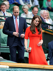 © London News Pictures. HRH The Duke & HRH The Duchess of Cambridge arrives in centre court to watch  Andrew Murray (GB) play Vasek Pospisil (CAN) in the men's Wimbledon Tennis Championships today. 07.07.2015. Photo credit: LNP