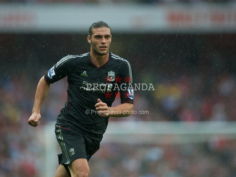 LONDON, ENGLAND - Saturday, August 20, 2011: Liverpool's Andy Carroll in action against Arsenal during the Premiership match at the Emirates Stadium. (Pic by David Rawcliffe/Propaganda)
