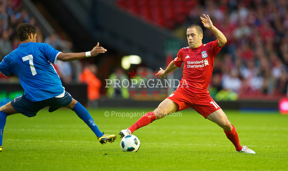 LIVERPOOL, ENGLAND - Thursday, August 5, 2010: Liverpool's Joe Cole in action against FK Rabotnicki during the UEFA Europa League 3rd Qualifying Round 2nd Leg match at Anfield. (Pic by: David Rawcliffe/Propaganda)