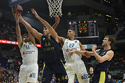 March 2, 2018 - Madrid, Madrid, Spain - Facundo Campazzo (left), #11 of Real Madrid, Ahmet Duverioglu, #44 of Fenerbahce, Walter Tavares (left),  #22 of Real Madrid and Jan Vesely, #24 of Fenerbahce pictured  in action during the 2017/2018 Turkish Airlines EuroLeague Regular Season Round 24 game between Real Madrid and Fenerbahce Dogus Istanbul at WiZink center in Madrid. (Credit Image: © Jorge Sanz/Pacific Press via ZUMA Wire)
