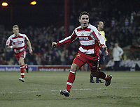 Photo: Aidan Ellis.<br /> Doncaster Rovers v Aston Villa. Carling Cup. 29/11/2005.<br /> Doncaster's Paul Hefernan wheels away in delight after scoring the second goal