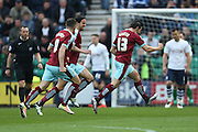 Joey Barton of Burnley celebrates scoring the opening goal to make the score 1-0 during the Sky Bet Championship match between Preston North End and Burnley at Deepdale, Preston, England on 22 April 2016. Photo by Simon Brady.
