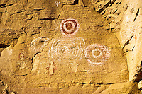 Fremont People rock art petroglyph (prehistoric rock carving dated 600-1300 AD) in the Douglas Creek Canyon south of Rangely, Colorado, USA on Bureau of Land Management (BLM) public lands.