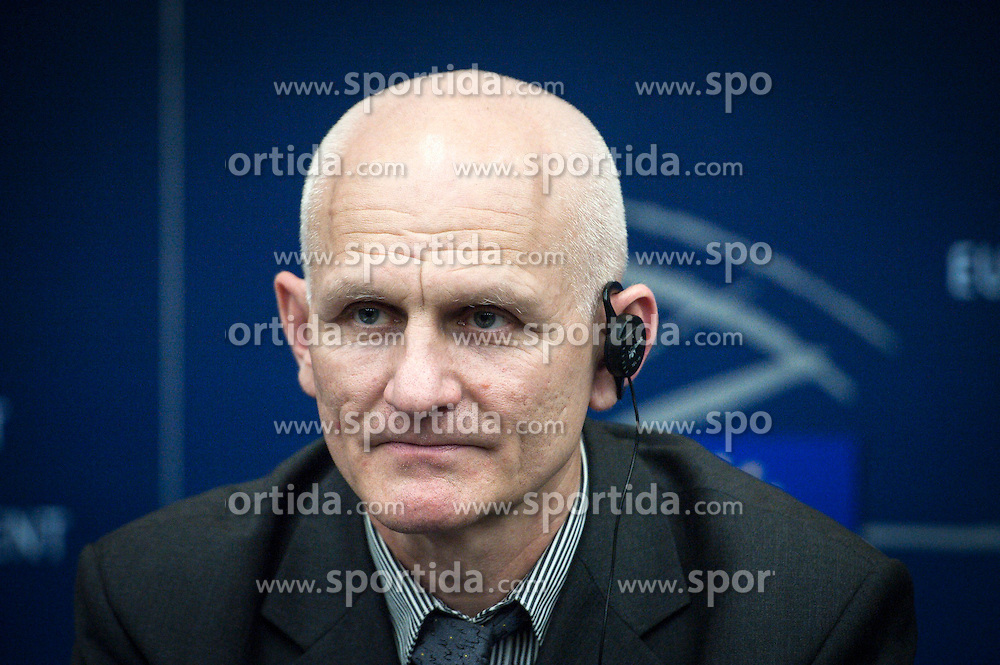A Belarussian human rights activist Ales Bialiatski (also transliterated as Ales Bialacki, Ales Byalyatski, Alies Bialiacki and Alex Belyatsky) gives the press conference during the second day of plenary session at the European Parliament headquarters in Strasbourg, France on 02.07.2014 Bialiatski spent 4 years in the Belarusian prison (lager) and was released on 21 of June 2014. EXPA Pictures &copy; 2014, PhotoCredit: EXPA/ Photoshot/ Wiktor Dabkowski<br /> <br /> *****ATTENTION - for AUT, SLO, CRO, SRB, BIH, MAZ only*****