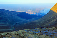 View from the Mourne Wall looking down the Glen River Valley towards Newcastle and Dundrum Bay.