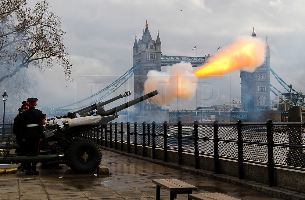 © Licensed to London News Pictures. 06/02/2019. London, UK.  The Honourable Artillery Company (HAC) stage a 62 gun salute at the Tower of London, in front of Tower Bridge to mark the anniversary of Her Majesty the Queenís accession to the throne..  Photo credit: Vickie Flores/LNP