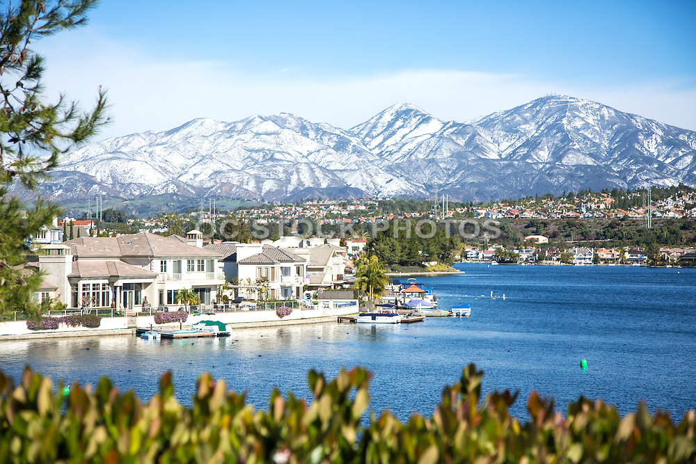 Snow on Santiago Peak at Lake Mission Viejo California