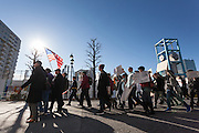 A protest march and rally organised by the Alliance for an Inclusive America group against the perceived anti-Muslim and anti-foreigner immigration policies of President Donald Trump, Shibuya, Tokyo, Japan. Sunday February 12th 2017. The Alliance of an Inclusive America is a multi-faith non-partisan group. About 250 Americans, other ex-pats and japanese people took part in the march to show people around the world they reject the Executive Order President Trump enacted at the end of January, indefinitely suspending the resettlement of Syrian refugees and temporarily banning people from seven majority Muslim countries from entering the United States.