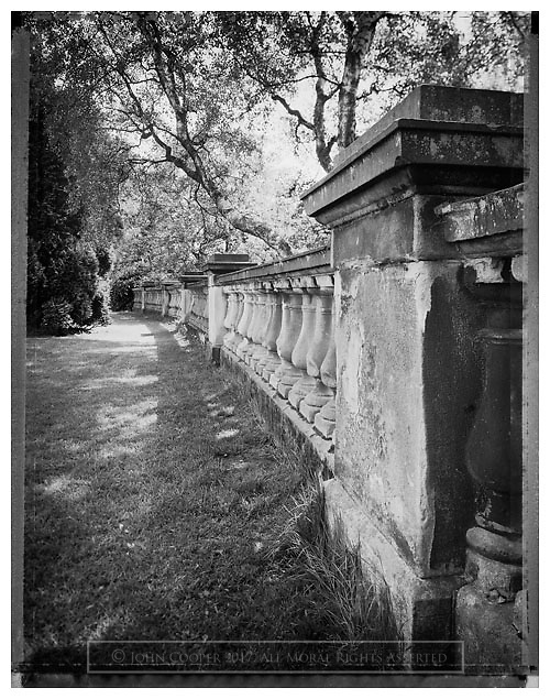 Black and white photograph of balustrade wall at Park Terrace, Glasgow. Mounted print available to purchase.