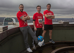 © Licensed to London News Pictures. 03/03/2015.  London.  From left to right - Singer Shayne Ward, football freestyler Ash Randall and Home Show presenter and architect George Clarke joined hundreds of runners today as they climbed 42 floors and 932 steps at Tower 42 as part of Shelters Vertical Rush charity event.      Photo credit : Alison Baskerville/LNP