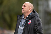 Accrington Stanley manager John Coleman before the EFL Sky Bet League 1 match between Rochdale and Accrington Stanley at the Crown Oil Arena, Rochdale, England on 12 October 2019.