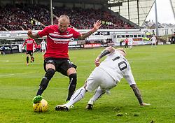 Dunfermline's Kallum Higginbotham misses Falkirk's Craig Sibbald. Dunfermline 1 v 2 Falkirk, Scottish Championship game played 22/4/2017 at Dunfermline's home ground, East End Park.