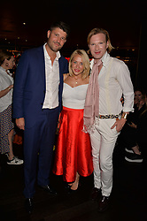 Alex Goward, Laura Hamilton, Henry Conway at the Quaglino's Q Legends Summer Launch Party hosted by Henry Conway at Quaglino's, 16 Bury Street, London England. 18 July 2017.