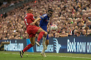 Nathaniel Clyne (Liverpool) stops Pedro (Chelsea) during the Barclays Premier League match between Liverpool and Chelsea at Anfield, Liverpool, England on 11 May 2016. Photo by Mark P Doherty.