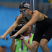 Dana Vollmer, USA, in action in the Women's 4 x 200m Freestyle Relay Final won by the USA at the Aquatic Centre at Olympic Park, Stratford during the London 2012 Olympic games. London, UK. 1st August 2012. Photo Tim Clayton
