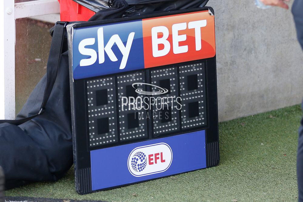 Sky Bet board during the EFL Sky Bet League 2 match between Crawley Town and Coventry City at the Checkatrade.com Stadium, Crawley, England on 14 April 2018. Picture by Andy Walter.