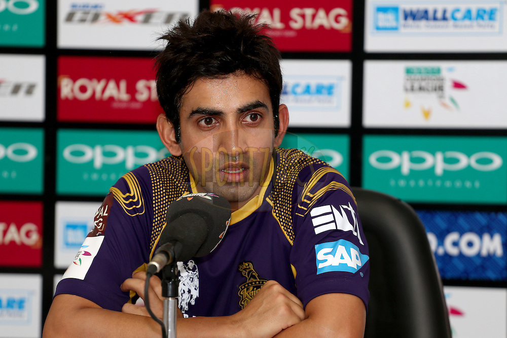 Gautam Gambhir during a press conference after the first semi final match of the Oppo Champions League Twenty20 between the Kolkata Knight Riders and the Hobart Hurricanes held at the Rajiv Gandhi Cricket Stadium, Hyderabad, India on the 2nd October 2014. Photo by:  Jacques Rossouw / Sportzpics/ CLT20<br /> <br /> <br /> Image use is subject to the terms and conditions as laid out by the BCCI/ CLT20.  The terms and conditions can be downloaded here:<br /> <br /> http://sportzpics.photoshelter.com/gallery/CLT20-Image-Terms-and-Conditions-2014/G0000IfNJn535VPU/C0000QhhKadWcjYs