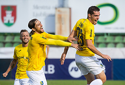 Besart Abdurahimi of Bravo and Luka Žinko of Bravo celebrate after scoring first goal during football match between NK Bravo and NK Celje in 13th Round of Prva liga Telekom Slovenije 2019/20, on October 5, 2019 in ZAK stadium, Ljubljana, Slovenia. Photo by Vid Ponikvar / Sportida