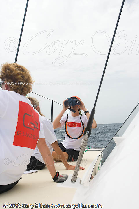 Sailing onboard Blast, a Gunboat 48, during Race 1 of Antigua Sailing Week.