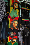 The face of Bob Marley on clothing at Elephant and Castle shopping centre, on 29th March, 2018 in London, England.