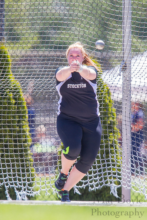 Richard Stockton College's Arielle Chard competes in the women's hammer throw at the NJAC Track and Field Championships at Richard Wacker Stadium on the campus of  Rowan University  in Glassboro, NJ on Saturday May 4, 2013. (photo / Mat Boyle)