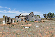 Dilapidated and rundown old outback shearning wool shed near Narrandera, New South Wales, Australia