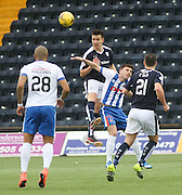 Dundee&rsquo;s Thomas Konrad beats Kilmarnock&rsquo;s Greg Kiltie in the air - Kilmarnock v Dundee, Ladbrokes Premiership at Rugby Park<br /> <br />  - &copy; David Young - www.davidyoungphoto.co.uk - email: davidyoungphoto@gmail.com