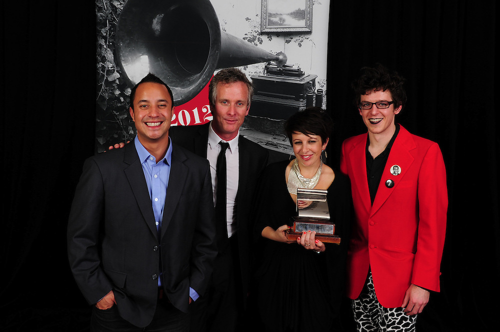 Te Awanui Reeder, Anthony Healey, Stephanie Brown, and Alex Taylor at the APRA Silver Scroll Awards 2012. Auckland Town Hall. 13 September 2012.