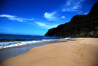 View of Barking Sands beach, Hawaii toward the cliffs