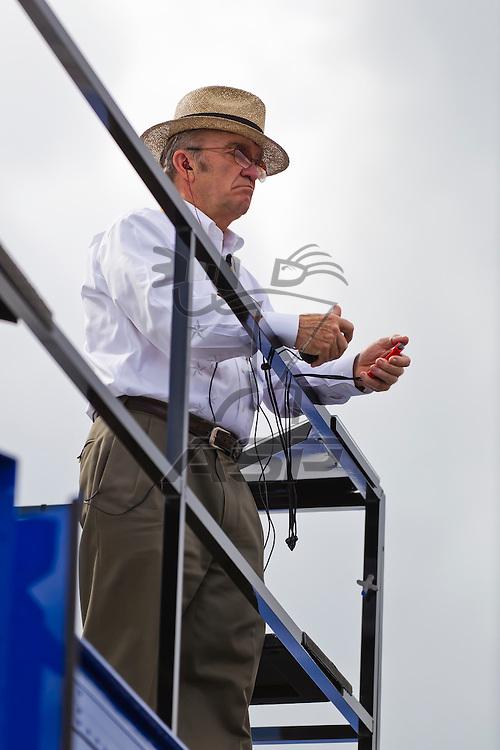 Daytona Beach, FL - Feb 18, 2012:  Car Owner, Jack Roush, watches a practice session for the Daytona 500 at the Daytona International Speedway in Daytona Beach, FL.
