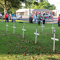 HOUSTON REMEMBERS<br /> (Floyd Ingram / Buy at photos.chickasawjournal.com)<br /> Houston residents gathered on the Courthouse Lawn for Memorial Day ceremonies Monday evening May 30, 2016. The annual event was sponsored by the Houston Pilot Club, VFW and American Legion and remembered those from Chickasaw County who died serving their country.