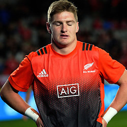 Jordie Barrett warms up for the 2017 DHL Lions Series rugby union 3rd test match between the NZ All Blacks and British & Irish Lions at Eden Park in Auckland, New Zealand on Saturday, 8 July 2017. Photo: Dave Lintott / lintottphoto.co.nz