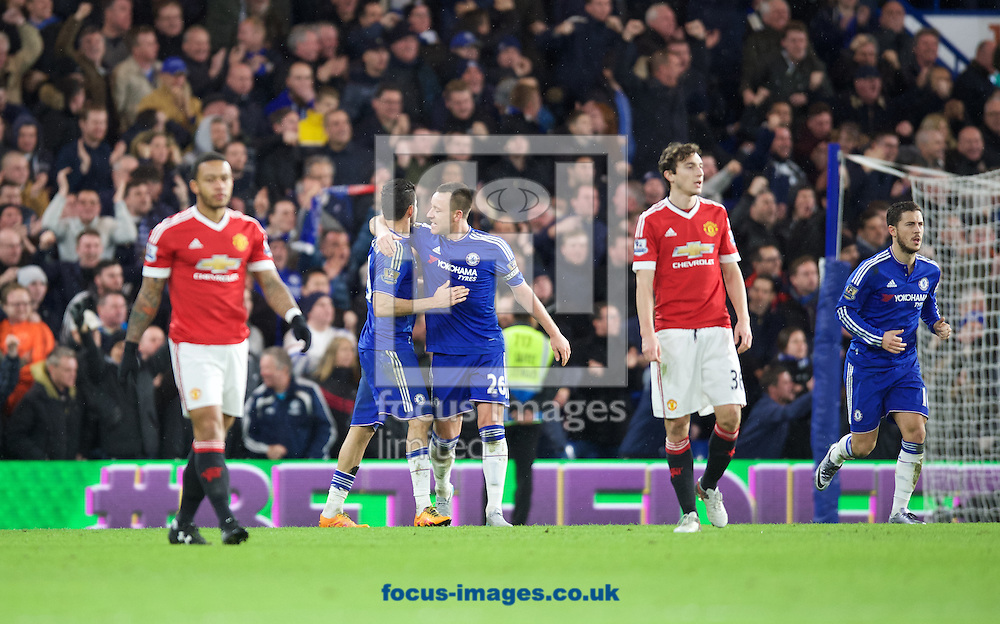 Diego Costa of Chelsea (19) celebrates with John Terry after scoring a equaliser during the Barclays Premier League match at Stamford Bridge, London<br /> Picture by Alan Stanford/Focus Images Ltd +44 7915 056117<br /> 07/02/2016