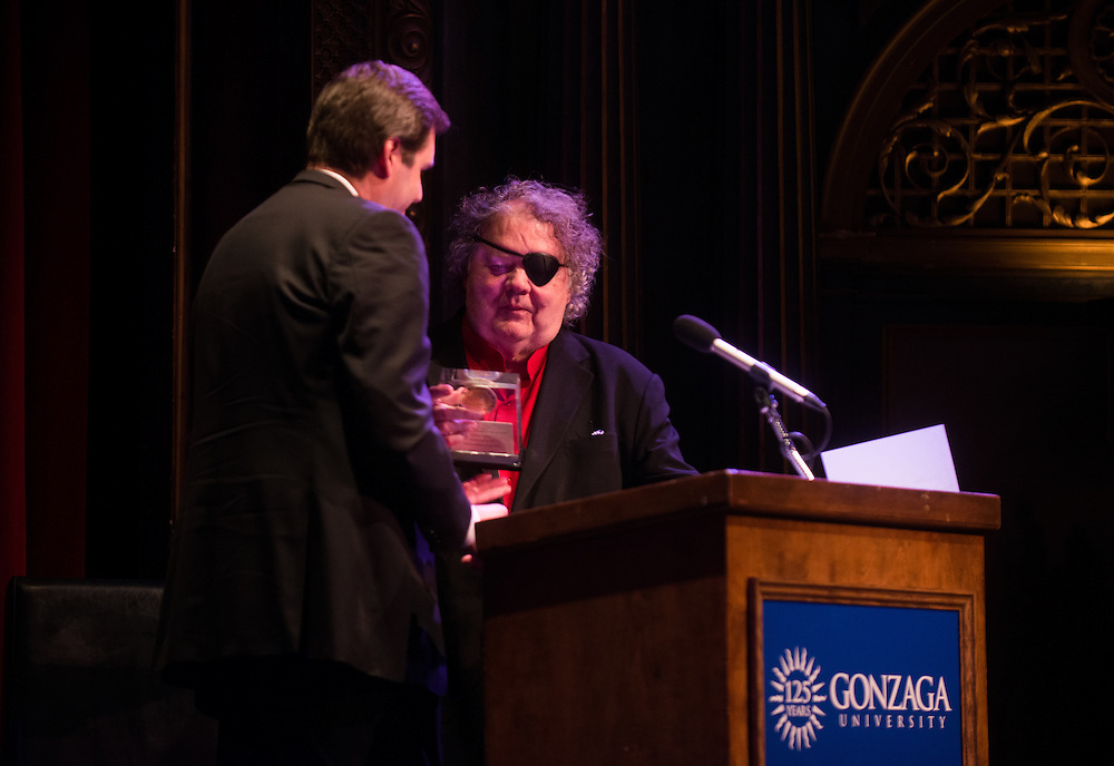 Dale Chihuly gives a presentation at the Bing Crosby Theater in Spokane. <br />