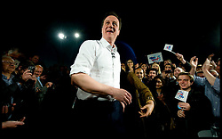 Leader of the Conservative Party David Cameron during a rally at the Old Library in Birmingham after the last Leader's Debate, Thursday April 29, 2010. Photo By Andrew Parsons / i-Images.