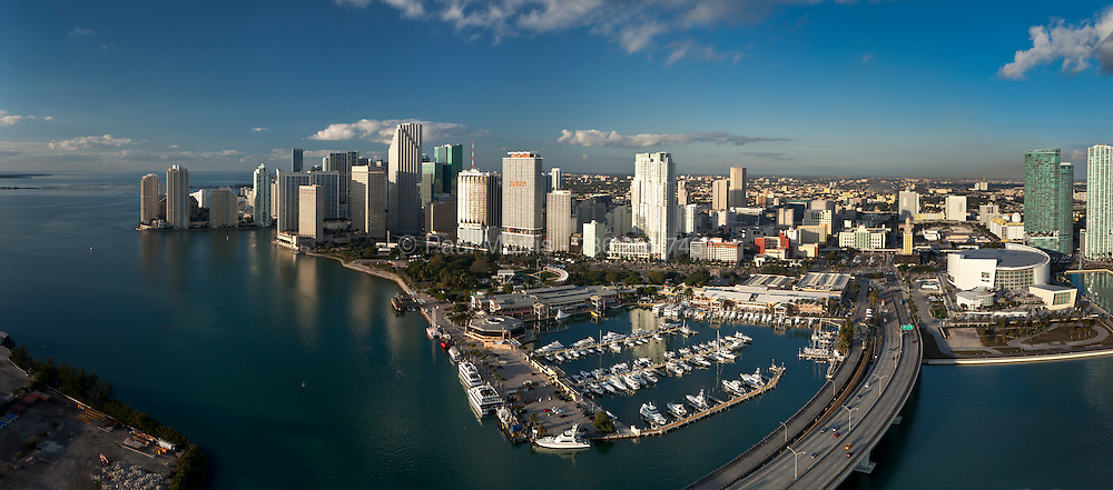 Aerial  panoramic view of The Miami skyline featuring Bayfront Park and Bayside Marketplace.