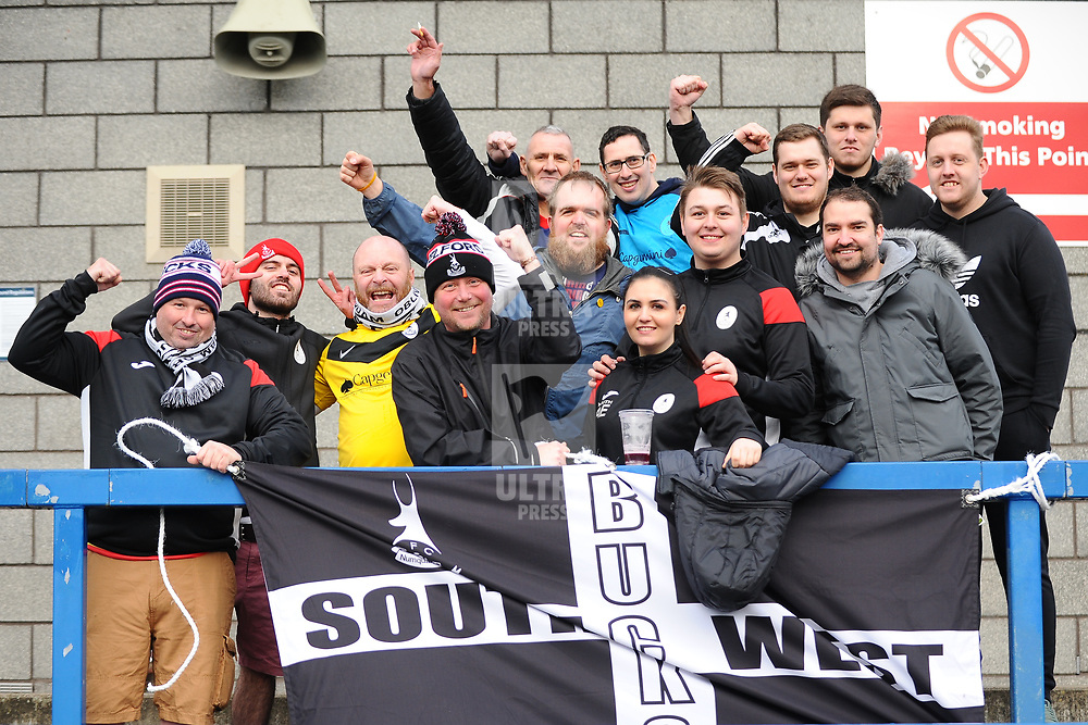 TELFORD COPYRIGHT MIKE SHERIDAN A group of AFC Telford fans travelled from Corwall to watch the Vanarama Conference North fixture between AFC Telford United and Kettering at The New Bucks Head on Saturday, March 14, 2020.<br /> <br /> Picture credit: Mike Sheridan/Ultrapress<br /> <br /> MS201920-050