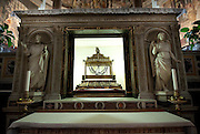 The chains said to have held St. Peter in Rome and Jerusalem are kept in a reliquary under the main altar in the Basilica of St. Peter in Chains (San Pietro in Vincoli). (Sam Lucero photo)