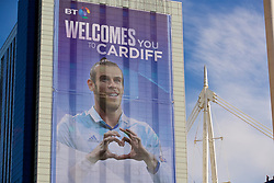 CARDIFF, WALES - Saturday, June 3, 2017: An image of Gareth Bale welcomes Real Madrid supporters to the stadium before the UEFA Champions League Final between Juventus FC and Real Madrid CF at the Stadium of Wales. (Pic by David Rawcliffe/Propaganda)